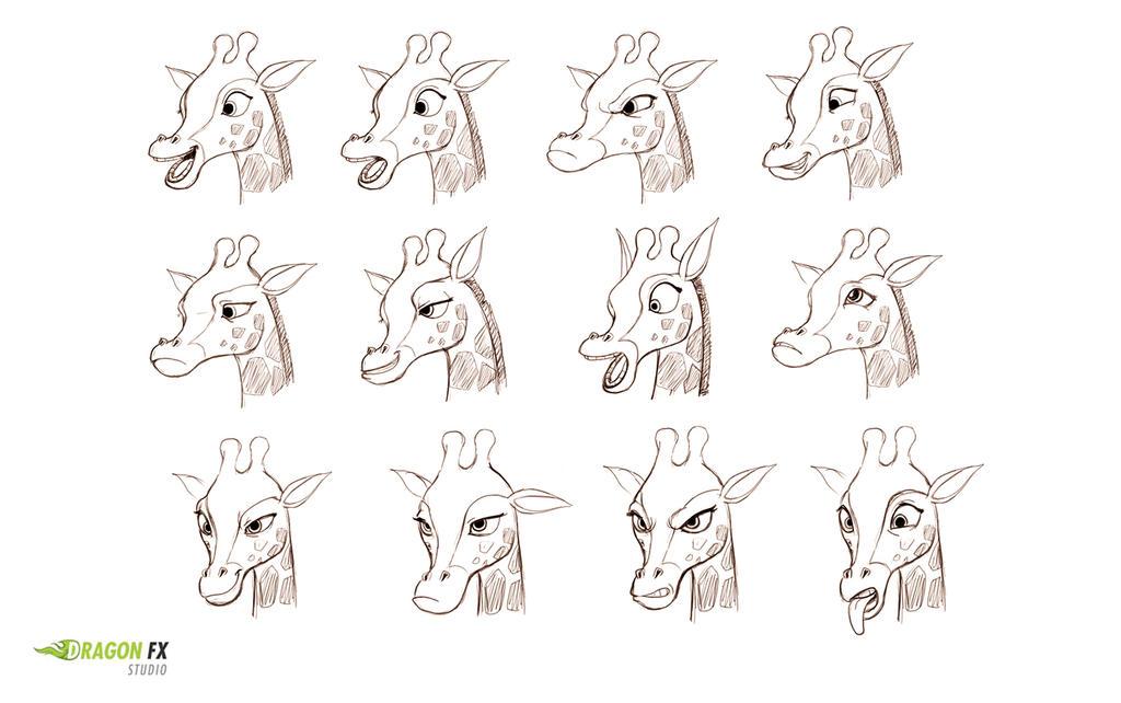 Giraffe- facial expressions by X-Factorism