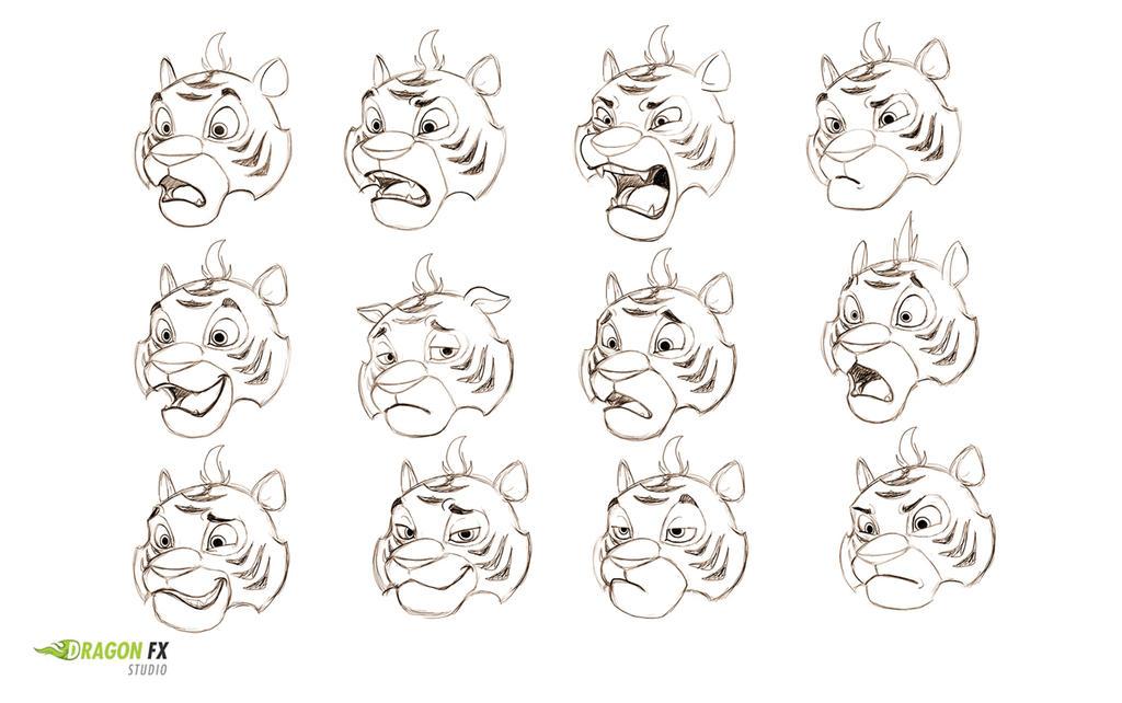 Tiger  facial expressions by X-Factorism