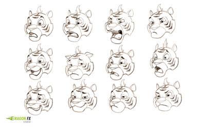 Tiger  facial expressions