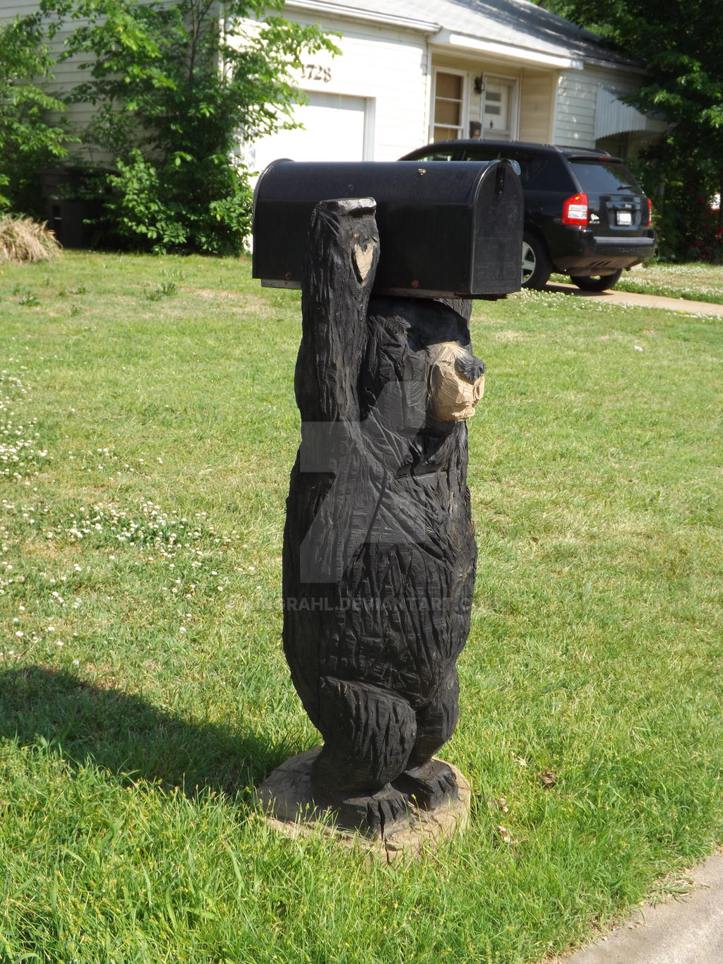 Chainsaw carving bear mailbox by kingrahl on deviantart