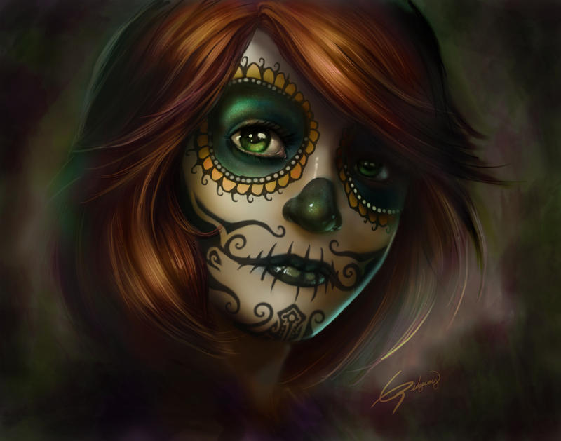 sugar skull girl by emortal982 on deviantart