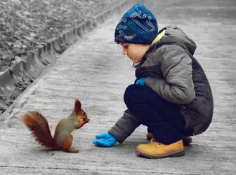 A boy and a squirrel