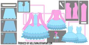 PB Short Blue Dress Cosplay Design Draft