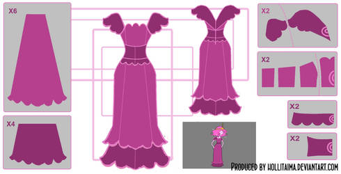 Princess Bubblegum Plum Dress Cosplay Design Draft by Hollitaima