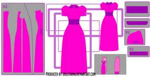 PB classic dress cosplay design draft