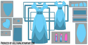 PB layered blue dress cosplay design draft
