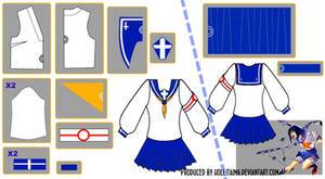 Tokiko Tsumura Sailor Fuku Pattern Draft Design by Hollitaima