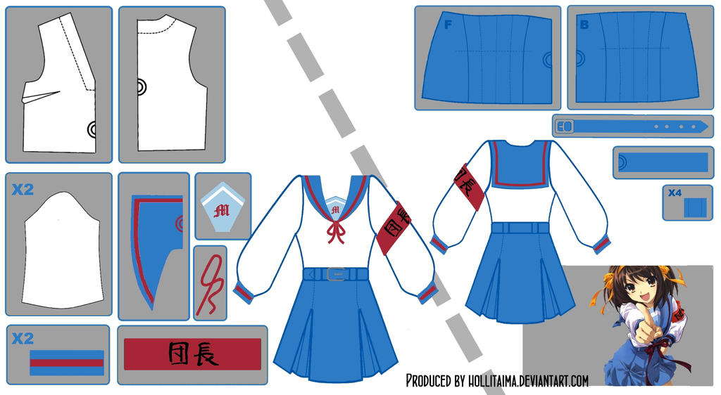 Haruhi Suzumiya Sailor Fuku Pattern Draft by Hollitaima
