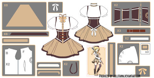 Mami Tomoe ~Magical Dress~ Cosplay Design Draft by Hollitaima