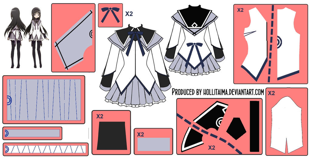 Homura Akemi ~Magical Dress~ Cosplay Design Draft by Hollitaima