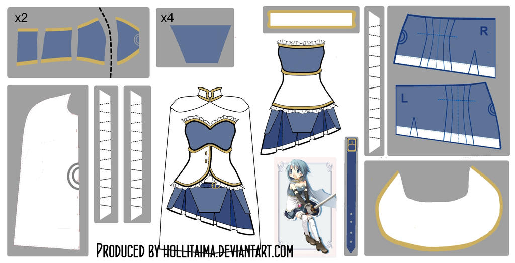 Sayaka Miki Magical Dress Cosplay Design Draft by Hollitaima