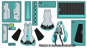 Hatsune Miku Main outfit Cosplay Design Draft by Hollitaima