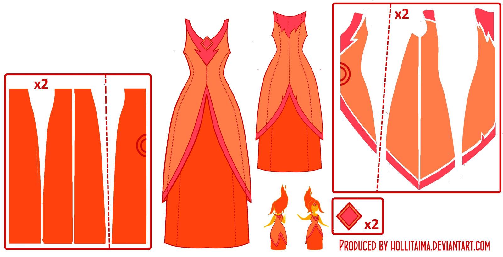 Flame Princess Pattern Draft by Hollitaima
