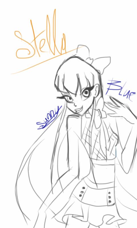 Stella sketch on phone by xXSunny-BlueXx