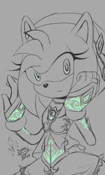 Amy Rose Princess sketch glowing by xXSunny-BlueXx