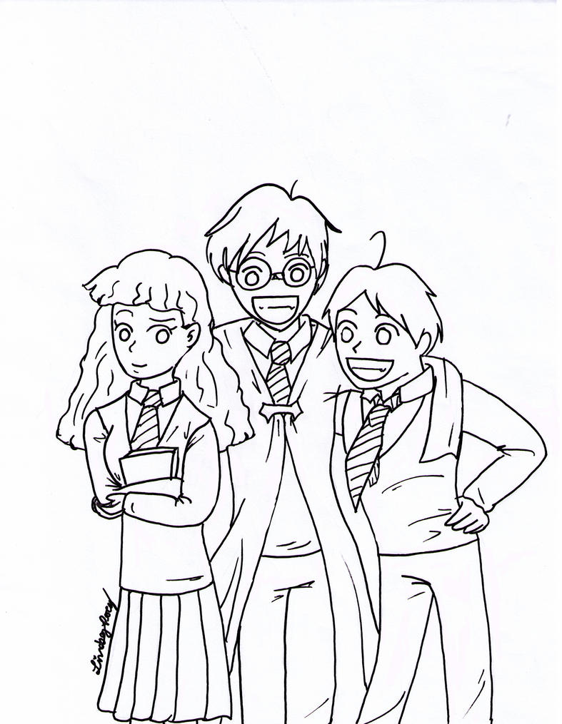 Line Drawing Harry Potter : Harry potter anime lineart by shadow everandaday on