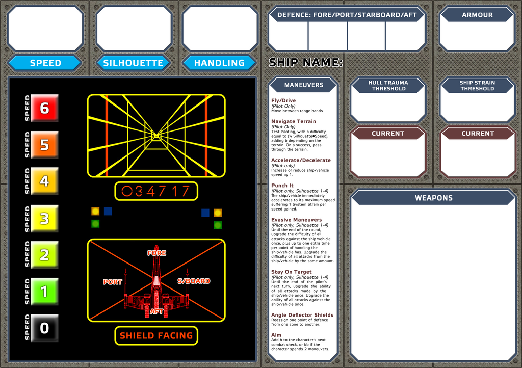 Starships Player Dashboard Star Wars Edge Of The Empire Rpg