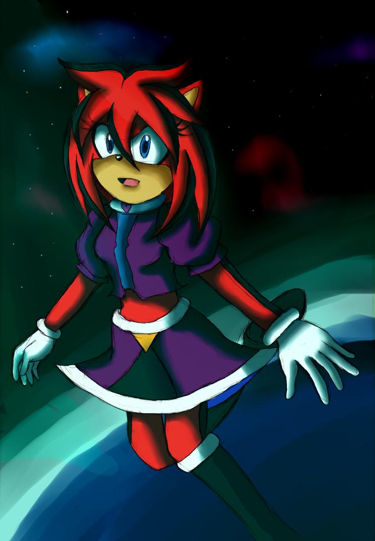 Red hedgehog in Space by Crystal-Dream