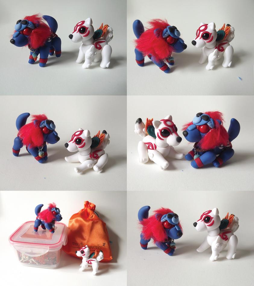 eBay! Okami Double Pack! Oki and Amaterasu Dolls! by vonBorowsky