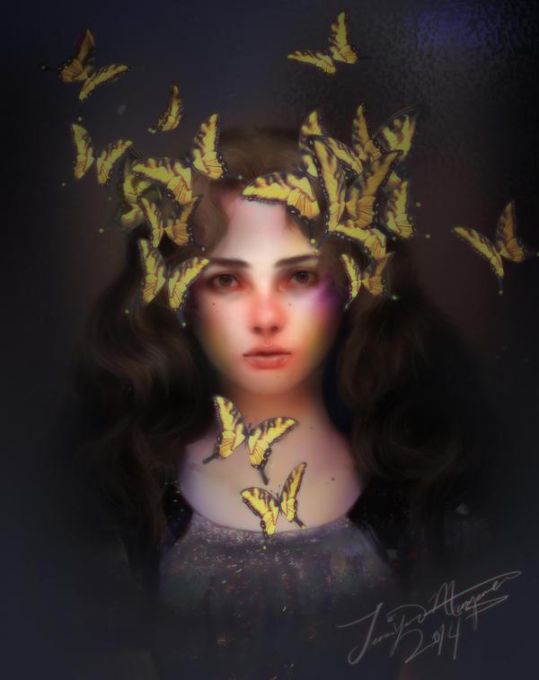 The Girl with butterflies by Jennifer-Manzanera