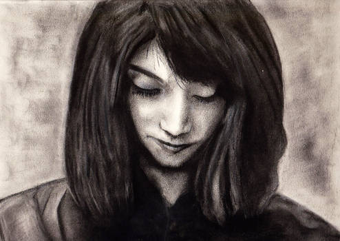 Charcoal practice 1 - downward looking woman