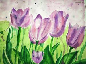 Abstract/ Loose/ Splash watercolor Tulips