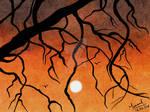 Beautiful sunset digital watercolor landscape