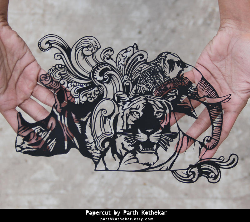 Papercut Art - Indian 10 rupees note