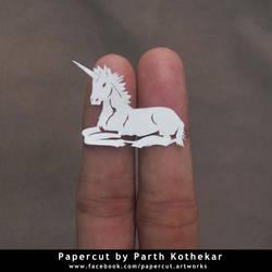 miniature papercut - unicorn