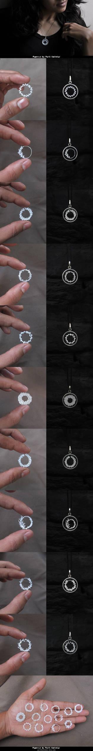 Miniature Papercut Pendants - Floral Frames