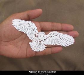 Miniature Papercut - Owl by ParthKothekar