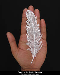 Papercut - Feather - Papercutting - Paper - Craft by ParthKothekar