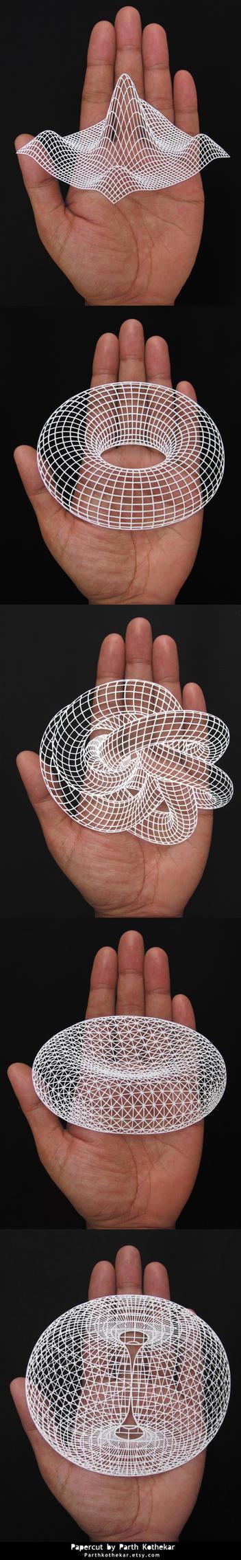 Papercut - 3d - geometric - paper art - papercuts by ParthKothekar
