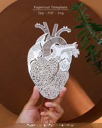 Heart Anatomy Papercut Template Papercutting Art by ParthKothekar