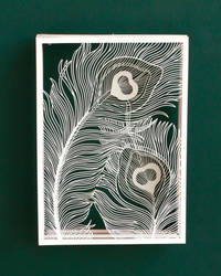 Peacock Feather Paper Cutting Art Hand Cut Design