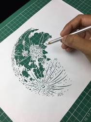 Moon Paper cutting Art Papercut Design Hand cut