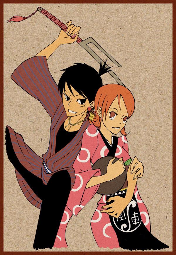 OP - Luffy Oyabun and Onami by Sanogirl