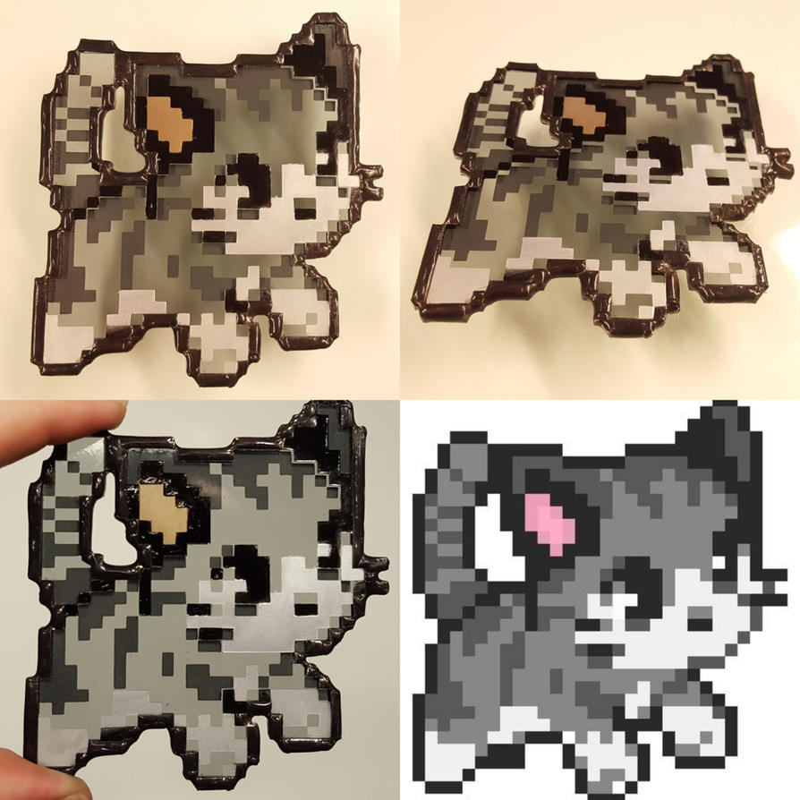 Stained Glass Pixel Art Cat by DarkeVitrum