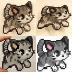 Stained Glass Pixel Art Cat