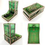 Stained Glass Golden Zelda Dice Tower by DarkeVitrum