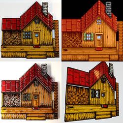 Stained Glass Stardew Valley House - ShadowBox WIP by DarkeVitrum