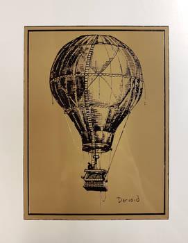 Hot Air Balloon in Sepia