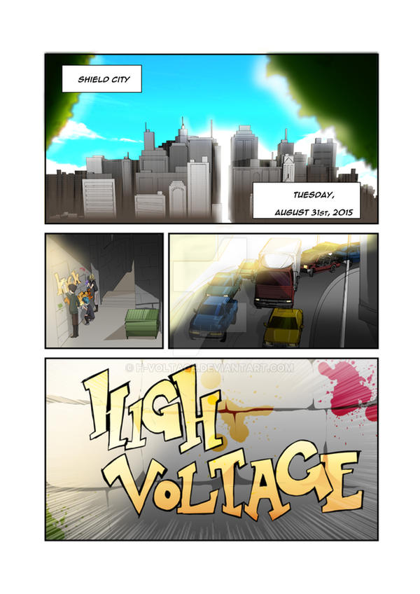 High Voltage: Beginnings - Comic Page (colored) by H-Voltage