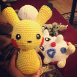 Pikachu and Togepi Crochet WIP