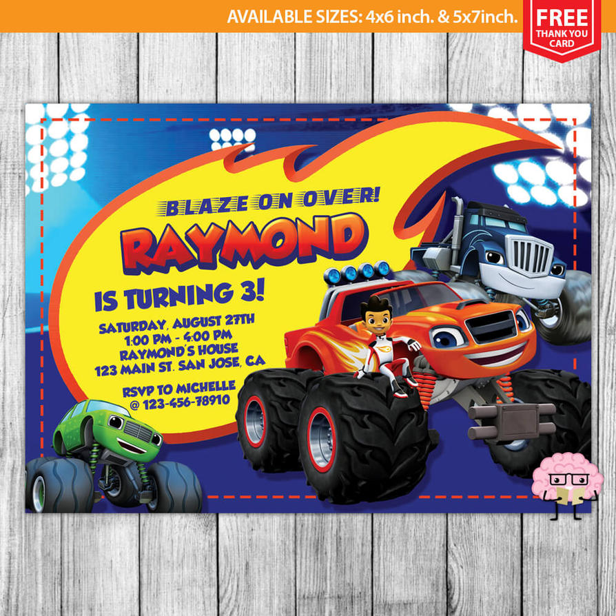 Blaze And The Monster Machines Invitation By