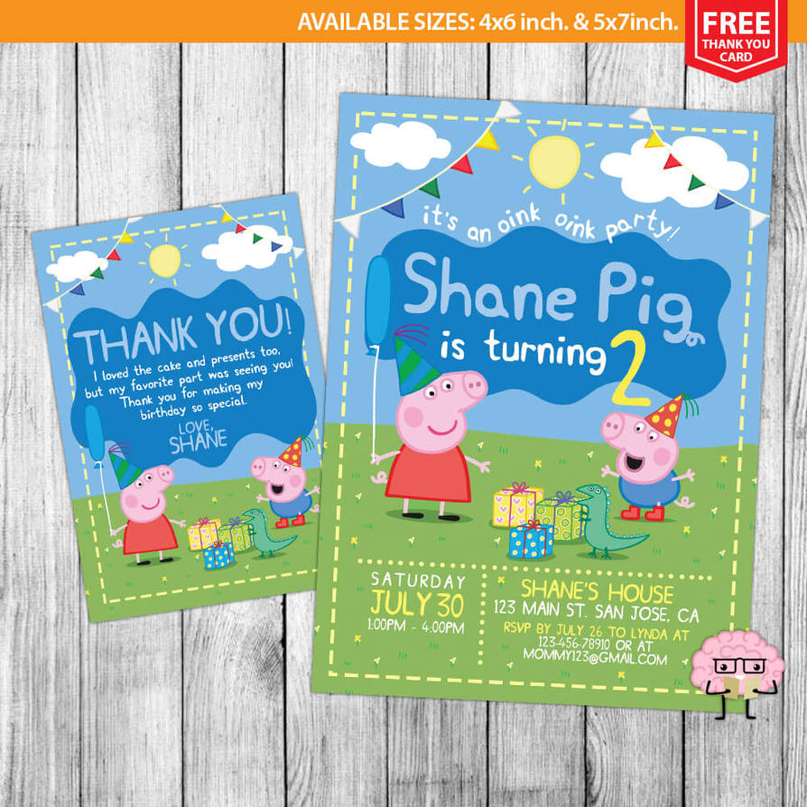 Peppa Pig Invitations Birthday By Mrgeniusinvites