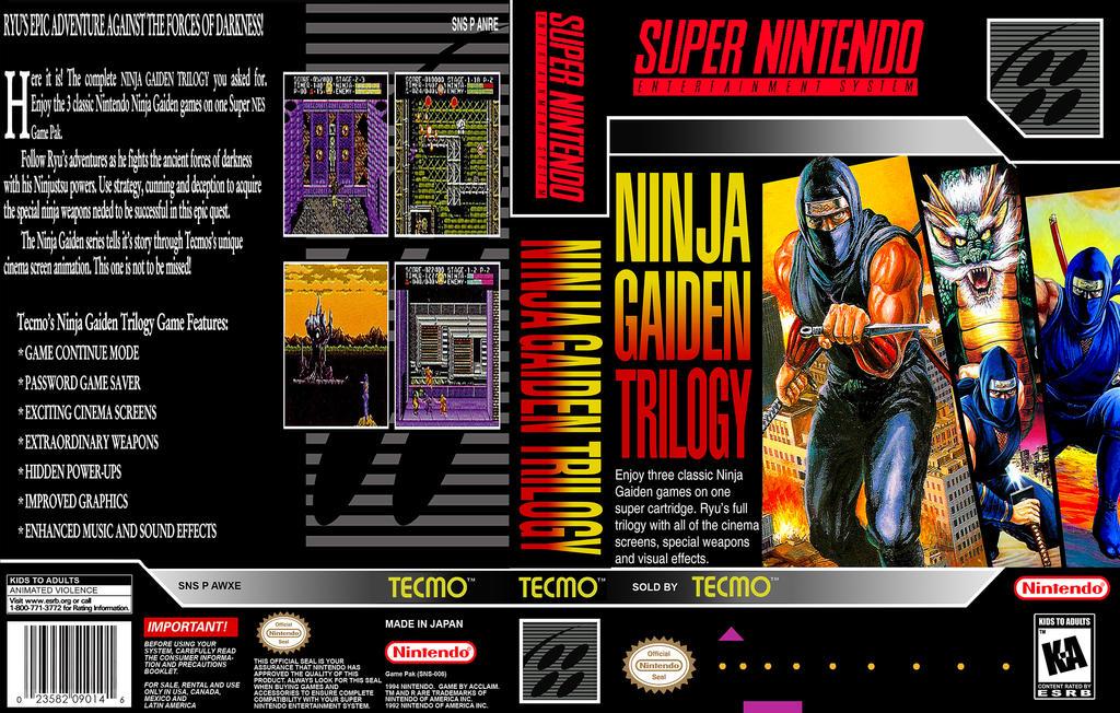 Ninja Gaiden Trilogy Snes Custom Box Art By Xxxwolverinefanxxx On