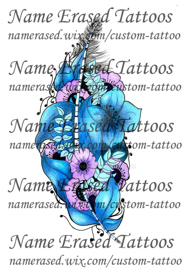 Tattoo design blue flower feather watermark by namerased on deviantart tattoo design blue flower feather watermark by namerased izmirmasajfo