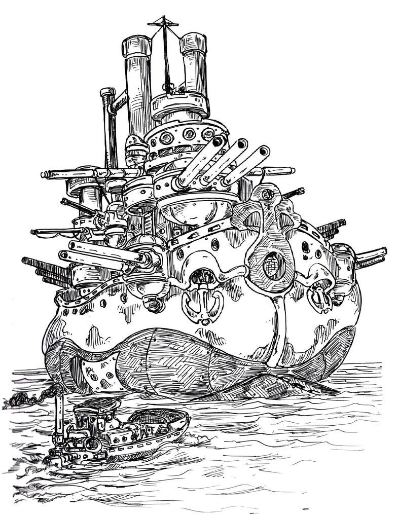 Inktober 2016 #24: Battleship by VincentBryantArt