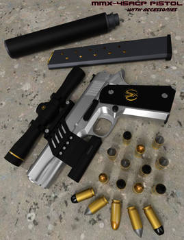 MMX 45ACP Pistol with accessories